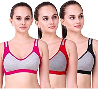 Vibrant Fashion Women's Cotton Non Padded Daily Workout Sports Gym Bra Combo (Multicolored) -(Pack of 3) (32, Multicolored)