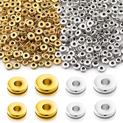 400 Pieces Metal Spacer Beads Flat Round Disc Rondelle Spacer Beads 5 mm 6 mm Metal Rondelle Crimp Beads for Bracelet Necklace Jewelry Making