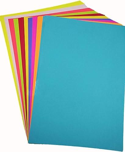 Paraspapermart A4 Color Paper Premium Neon Colours Pack of 100 Sheets (10 Colors x 10 Sheets Each Colour) for Art & C...