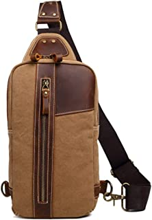 Mens Bag Multifunctional Unisex Chest Shoulder Satchel Crossbody Bag with Zipper Vintage Canvas Messenger Bag High capacity