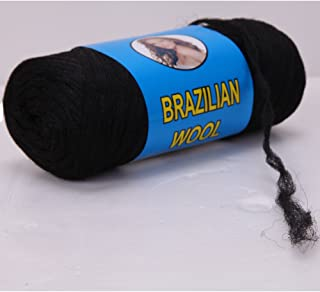 Brazilian Wool Hair Acrylic Knitting Yarn for African Hair Braiding/Sengalese Twist/Jumbo Braids/Crochet Faux Locs/Wraps/Dreadlocks (1 Roll Natural Black)