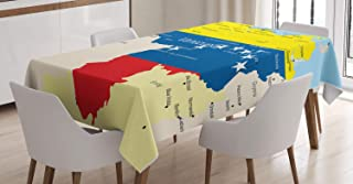 Ambesonne Venezuela Tablecloth, Colorful and Detailed Map Illustration Country Names and Regions Flag Colors, Rectangular Table Cover for Dining Room Kitchen Decor, 60