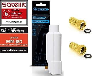 SN Rocket Single LNB LF 01 40mm Feed 0.1db Full HD 3D vergoldete Anschlüsse + Wetterschutz / Set mit 2 F Stecker vergoldet / GRATIS ( Test SEHR GUT )