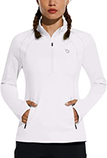Women's Fleece Half Zip Running Pullover Long Sleeve Thermal Workout Exercise Jackets Gear for Cold Weather