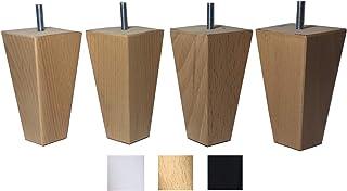 4 patas de madera maciza de haya 12 cm alta para muebles