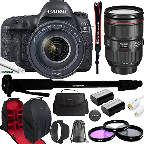 Canon EOS 5D Mark IV Full Frame Digital SLR Camera with EF 24-105mm f/4L is II USM Lens Kit + Deal-Expo Advanced Accessories Bundle