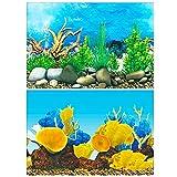 Amakunft 50 cm de alto x 102 cm de ancho, adhesivo para fondo de acuario, doble cara, papel pintado para tanque de peces océano fondo marino y arrecife de coral