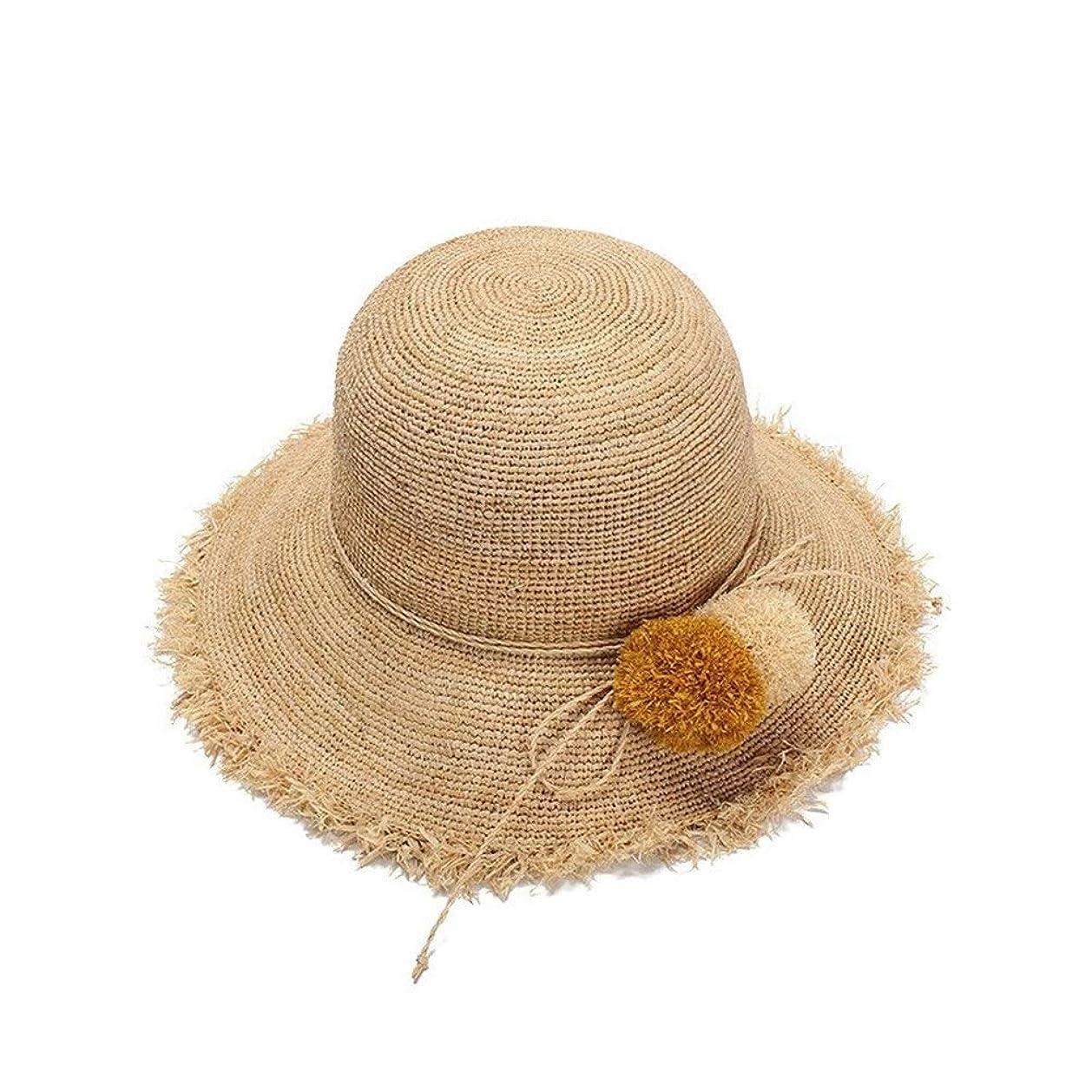 一方、イヤホンエンジニアZHANGBIN 女性夏帽子草ボール装飾ラフィットかぎ針編み麦わら帽子生エッジドーム帽子日焼け止めバイザー (Color : Wheat-colored)
