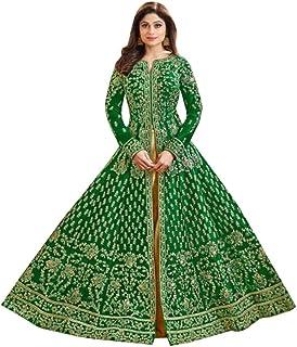 Green Indian Bollywood Designer Dupion Silk Heavy Anarkali Skirt style Suit Muslim Women Ethnic dress 8409