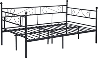 GreenForest Daybed Twin Size Bed Frame with Headboard and Stable Steel Slats Mattress Platform Base Boxspring Replacement Bed Sofa for Living Room Guest Room, Black