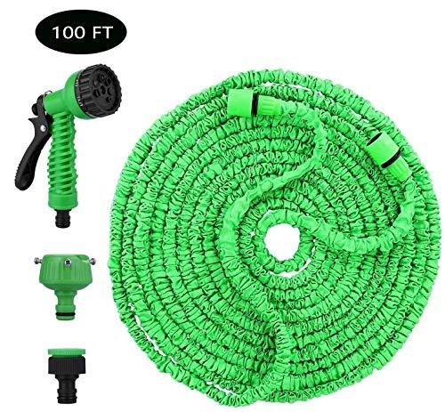 Konety Flexibler Gartenschlauch, Gartenschläuche Flexibler 30m 100FT Flexibler Basic Wasserschlauch Flexible dehnbarer Flexischlauch Multisfunktionsbrause mit 7 Funktionen für Garten Grün