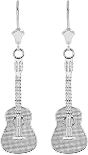 Fine 925 Sterling Silver Classic Acoustic Guitar Leverback Earrings