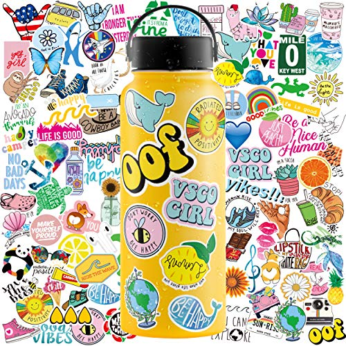 Aesthetic Stickers, 100 Pack Cute Stickers for Water Bottles, VSCO Stickers for Teens, Waterproof Stickers for Water Bottle, Hydroflask Stickers Waterproof, Water Bottle Stickers, Hydro Flask Stickers