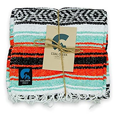 Coal Creek Supply Classic Mexican Blanket, Authentic Falsa Soft Woven Blanket (Orange and Mint)