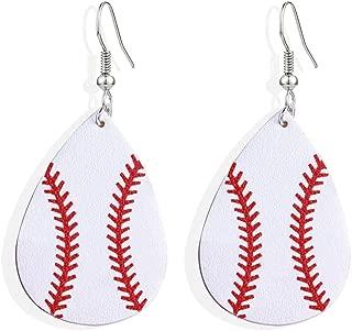 Faux Leather Teardrop Earrings for Women Basketball Football Volleyball Leather Earrings Dangle Drop Earrings Jewelry Earrings