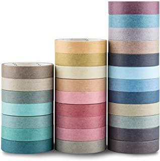 Yubbaex Natural Color Washi Tape Set 28 Rolls Decorative Tapes for DIY Crafts, Bullet Journals, Planners, Scrapbooking, Wrapping (Morandi 28 Rolls)