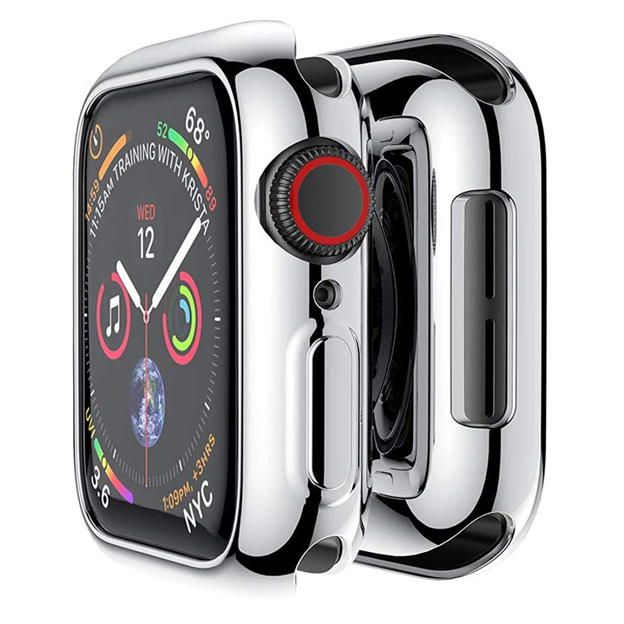 畝間切り下げ競合他社選手HANKN 対応 Apple Watch ケース メッキ TPU 耐衝撃 カバー 保護 アップルウォッチ カバー シリーズ 4 / シリーズ 5 柔軟四辺簿脱着簡単傷付きプロテクターバンパー Apple iWatch Case Series 5 / 4 (44mm, 銀)