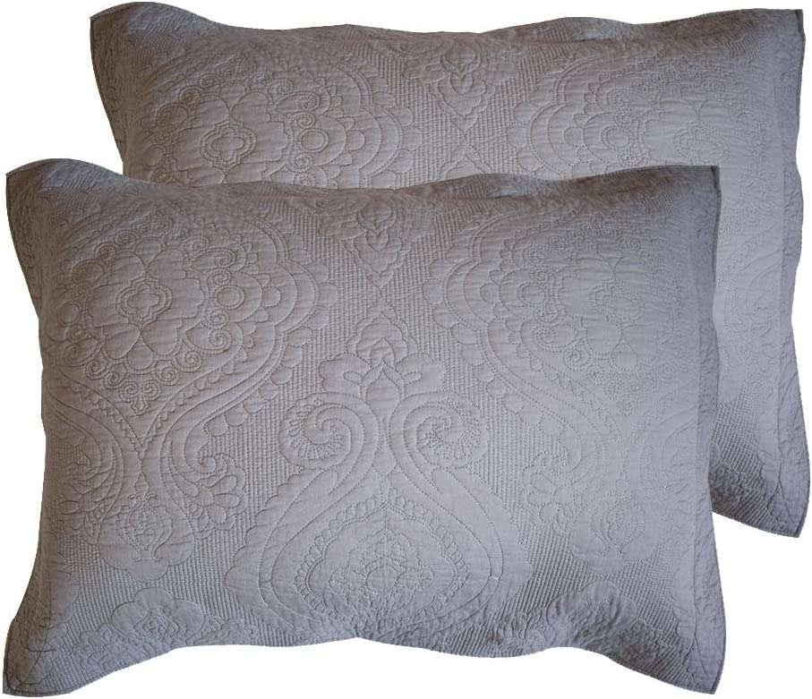 HOPLEE Embroidered Pillow Shams Set of 2 Decorative Pillow Cases(Grey Cotton, 20