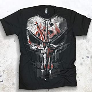 Punisher Men's Bloody New Skull Graphic T-shirt Season 2 Daredevil Tee Netflix Marvel Shirt