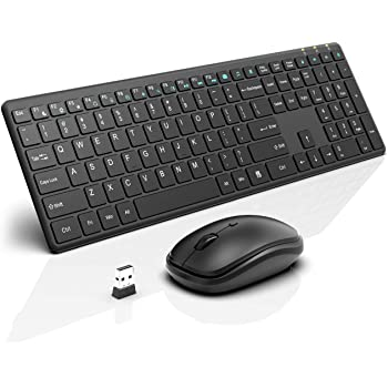 Wireless Keyboard and Mouse Combo, RATEL 2.4GHz Ultra-Thin Full Sized Wireless Keyboard and Silent Click Wireless Mouse with USB Receiver for Computer, Desktop, PC, Notebook, Laptop (Black)