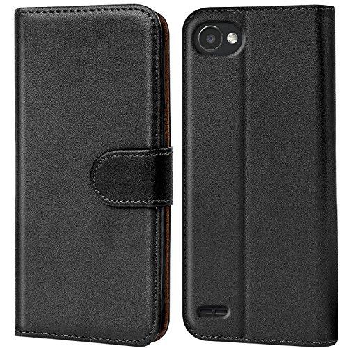 Verco Q6 Hülle, Handyhülle für LG Q6 Tasche PU Leder Flip Hülle Brieftasche - Schwarz