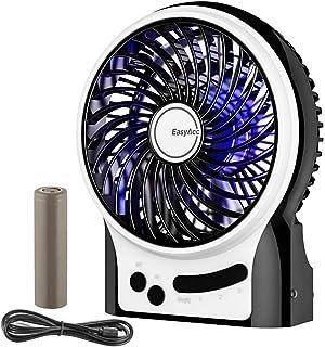 EasyAcc Mini Ventilador USB Ventilador Recargable con 3 velocidades 2600mAh LG Batería para Interiores y Exteriores Negro