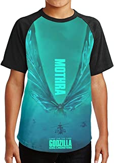 Youth Boys Girls God-Zilla 2 King of The Monsters Short Sleeve Raglan Baseball T Shirts