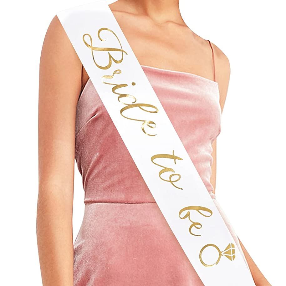 Bride To Be Sash - Bachelorette Party Bridal Shower Wedding Decorations Bride Accessories & Gifts (White with Gold Lettering)