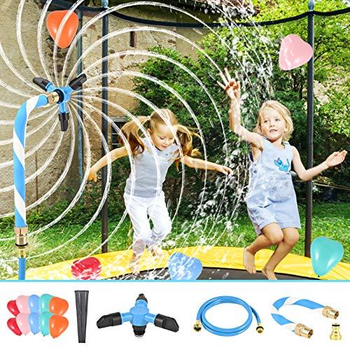 LESDOI Aspersor de trampolín, aspersor trampolín set que evita roturas y fugas, con tubería de agua espesa, 10 lazos anchos reutilizables, para trampolines, refrigeración de verano, parque acuático
