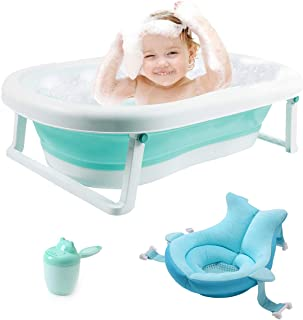 3-in-1 Baby Bathtub Portable Collapsible Toddler Bath tub Foldable Infant Shower Basin Anti Slip Skid Proof with Baby Cushion & Water Rinser Cup for 0-5 Years(Green tub+Cushion)