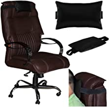 Acm Leather Cushion Pillow Head & Neck Rest Compatible with Study Chair Black