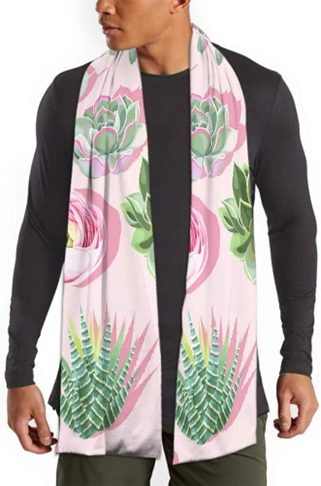 Men's And Women Winter Fashion Scarf Seamless Pattern With Succulent On Pink Background Vector Long Plain Warm Soft Scarves For Men - Cotton Scarves