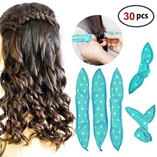 HailiCare 30Pcs Schaum Lockenwickler Flexible Keine Hitze Styling Tools DIY Magic Lockenwickler Rollen zum Einschlafen für Lange und Kurze Haare - Blauer Punkt