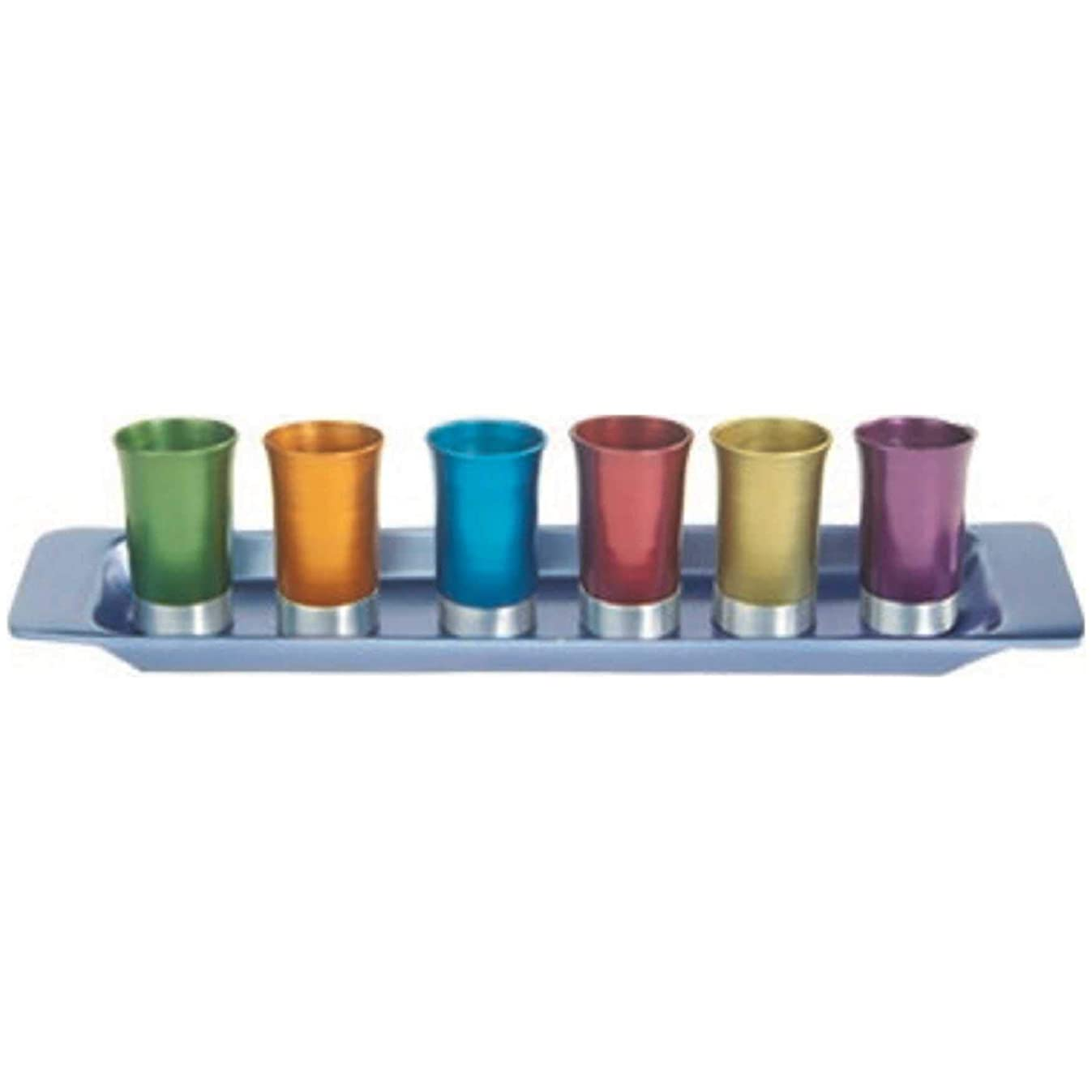 Yair Emanual Set of 6 Small Kiddush Goblets Cups with Tray Aluminum  Multicolor  Judaica (GS-6A)