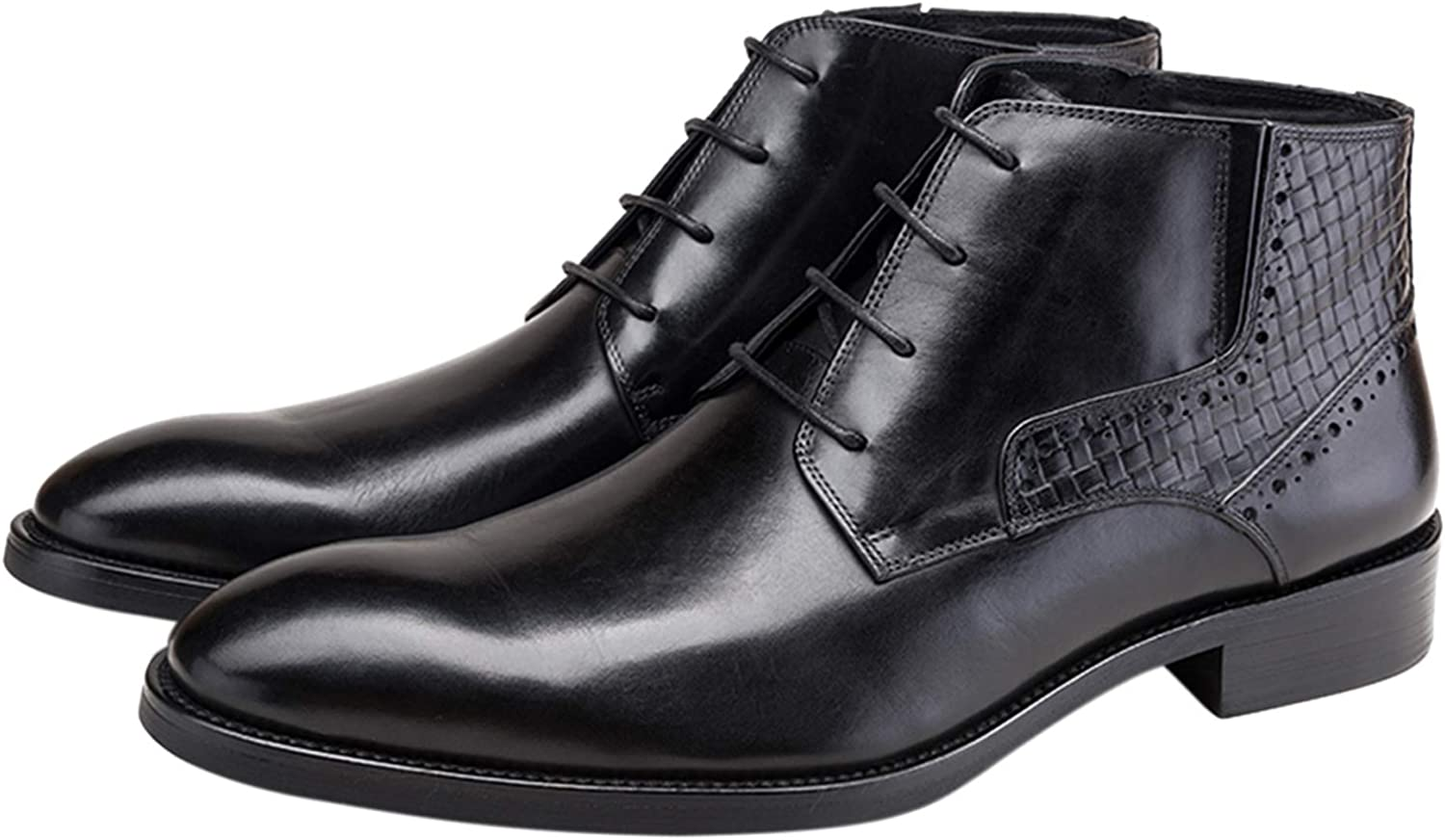 Santimon Mens Dress Boots Leather Luxury Ankle Genuine Free Shipping To Pointed Lace up