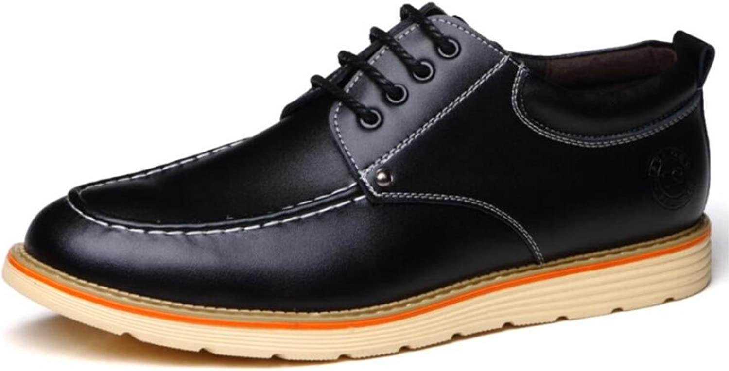 Casual Men 's shoes Leather shoes With Wear - resistant Fashionable Wild Flat with Round Head