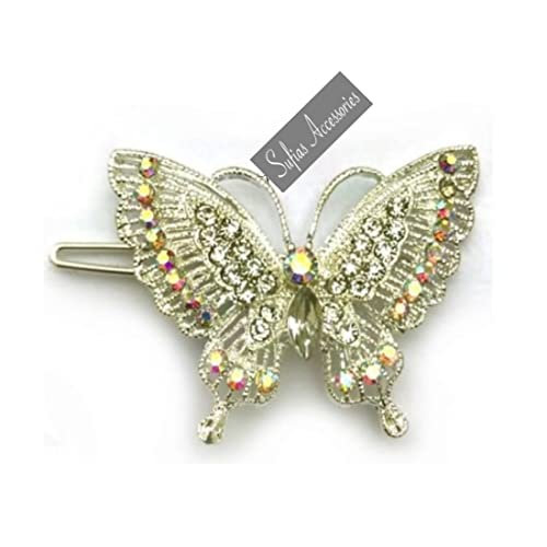 c40900405 Sufias Accessories Butterfly Rockabilly Vintage 50s Hair Clip Pin up Chic  Silver Crystal Grip Bride xx