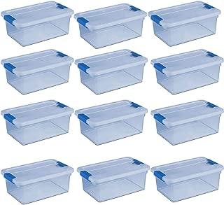 Sterilite ClearView Latch 15 Quart Plastic Storage Container Bin, Blue (12 Pack)