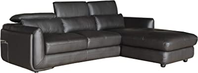 Benjara Leatherette Right Arm Facing Sofa with Ratcheting Adjustable Headrest, Black