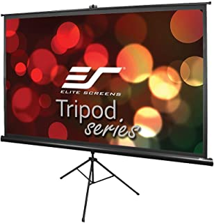 Elite Screens Tripod, 120-inch, Adjustable Multi Aspect Ratio Portable Pull up Projection Projector Screen, T120UWH