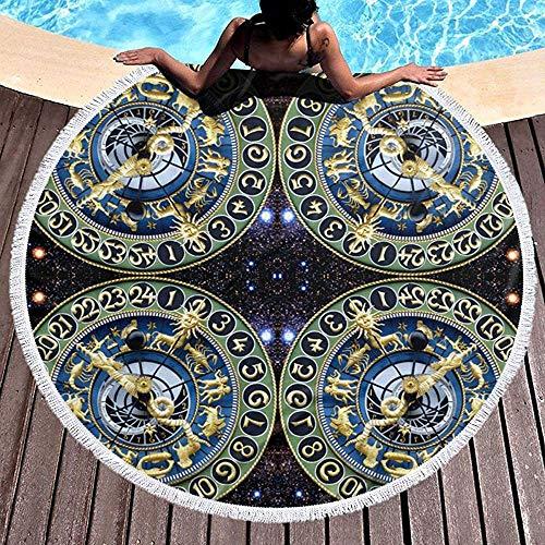 Nazi Mie 9 Uhren Time Stars Universe Galaxy Sternzeichen Horosco Runde Strandtuch Decke Picknick Teppich