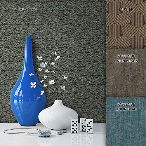 NEWROOM Tapete Blau Geometrisch Rhombus Grafik Vliestapete Braun Vlies moderne Design Optik Tapete Shabby Chic inkl. Tapezier Ratgeber