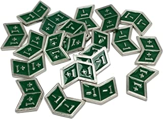 Set of 20 Metal Buff Counters, Token, Creature Stats or Loyalty, Double Sided +1/+1 and -1/-1 for CCG, MTG Magic: The Gathering, Green Enamel