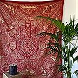 MOMOMUS Tapiz Mandala Oro - 100% Algodón, Grande, Multiuso - Tapices de Pared para Decoración - Granate, 210x230 cm