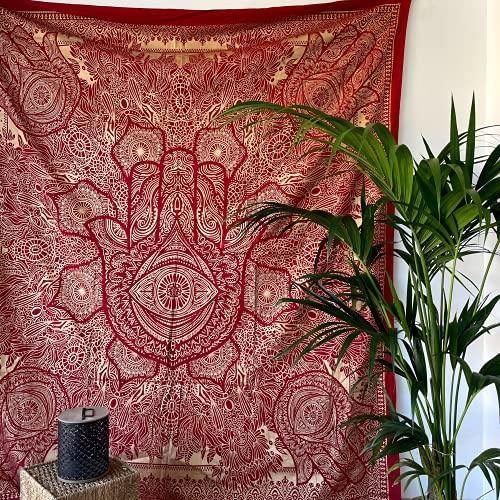 MOMOMUS Wandteppich Mandala - Gold - 100% Baumwolle, Groß, Mehrzweck - Bettüberwurf/Sofaüberwurf & Überwurf für Sofa/Couch und Bett - Decke/Plaid/Tagesdecke