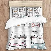 GLONLY 3pcs Bedding Set,Cartoon Funny Smiling Expression Cat Scarfs Doodle Humorous Design Children's Series,Latest Style Zippered Duvet Cover & 2 Pillow Shams Unique Microfiber Quilt Cover 104