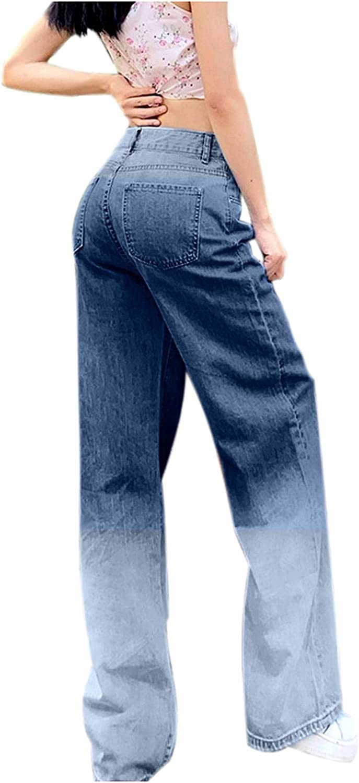 Fudule Y2K Fashion Jeans for Women, Teen Girls High Waist Denim Jeans Boyfriend Style Wide Leg Pants Casual Baggy Pants