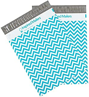 Inspired Mailers - Poly Mailers 14.5x19 - Blue Chevron - Choose from 6x9, 10x13 and 14.5x19 Sizes - 3.15mil Unpadded Mailing Bags (14.5x19, 50 Pack)