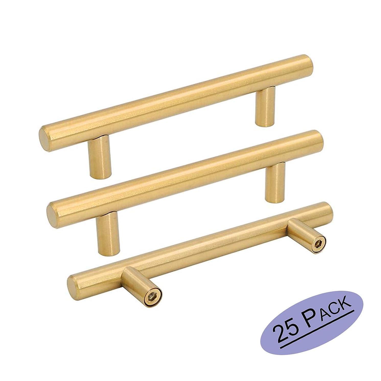 Brushed Brass Kitchen Cabinet Hardware Handle T Bar Handles 1/2