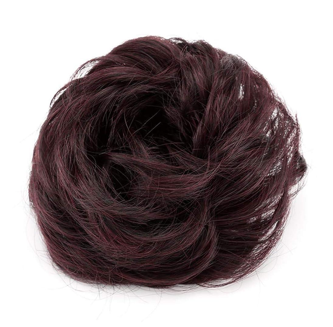 差し迫ったことわざ同等の弾性ヘアバンド短い髪型ツール偽の髪のバンズ結婚式ヘアピース(ワインレッド)